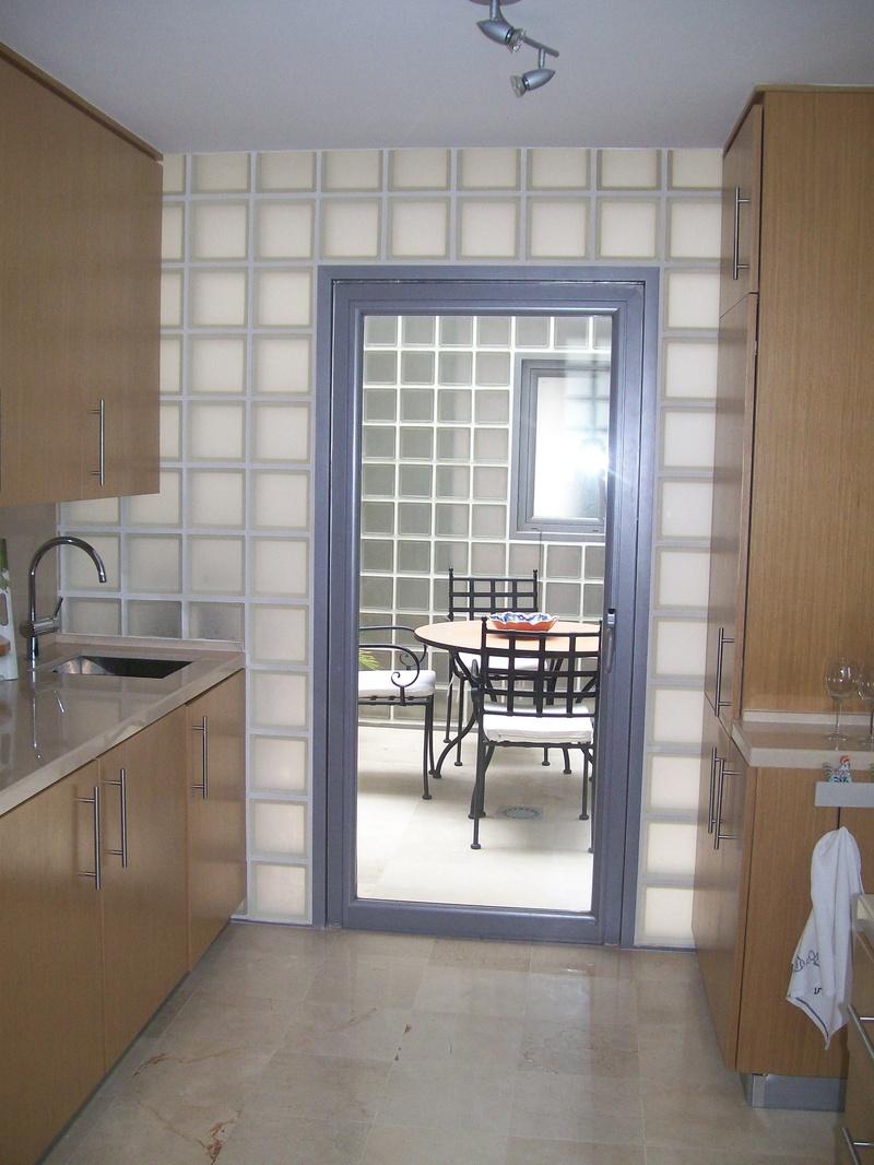 Kitchen with door to courtyard